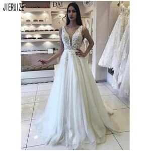 JIERUIZE A-Line Tulle Wedding Dresses V Neck Lace Appliques Sexy Backless Wedding Bridal Gowns Sleeveless Beach robe de mariee