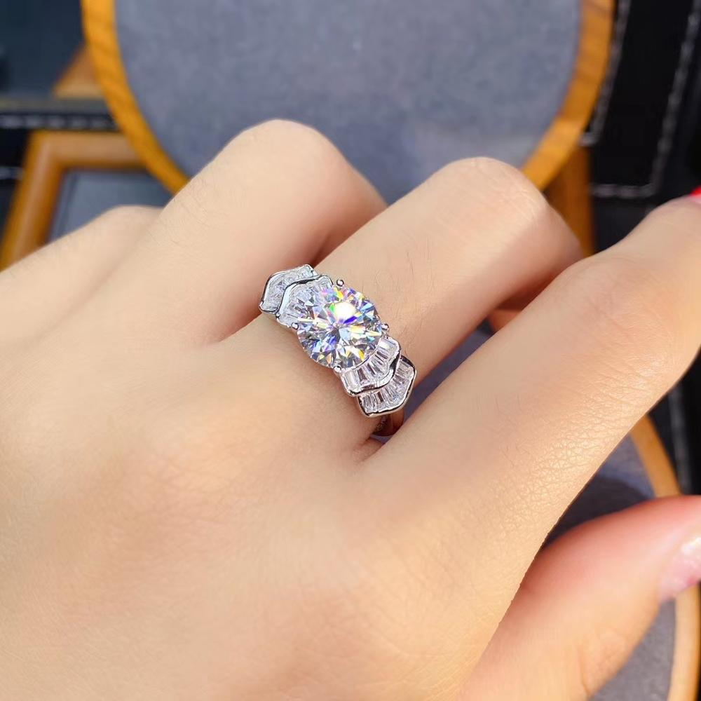 Review new style crackling moissanite ring for women jewelry engagement ring for wedding 925 silver ring shiny gem birthday gift