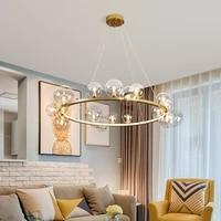 modern led chip lighting pendant lighting glass bubbles g9 led chandelier nordic gold silver black metal hanging lamparas