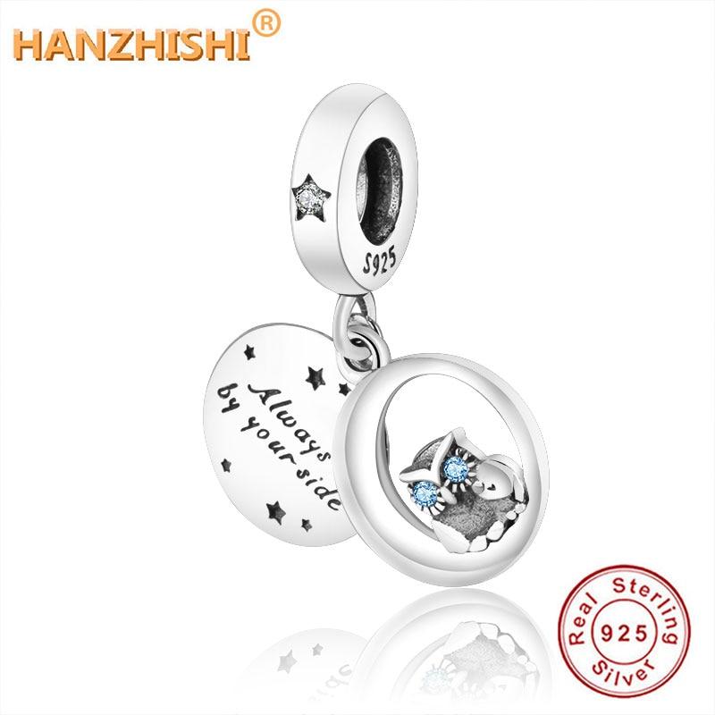 925 Sterling Silber Buchstaben Immer durch Ihre Seite Eule Baumeln Charme Perlen Fit Original Pandora Charme Armband Halskette DIY Schmuck