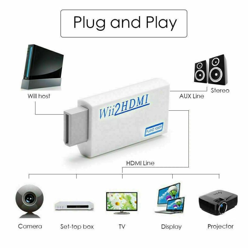 Wii compatible con HDMI Adaptador convertidor Wii2HDMI Full HD 720P 1080P convertidor...