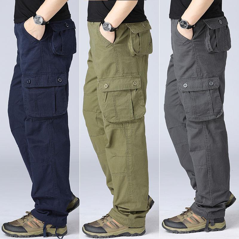 Брюки-карго мужские повседневные, тактические штаны в стиле милитари, много карманов, хлопковая верхняя одежда, армейские свободные прямые ...