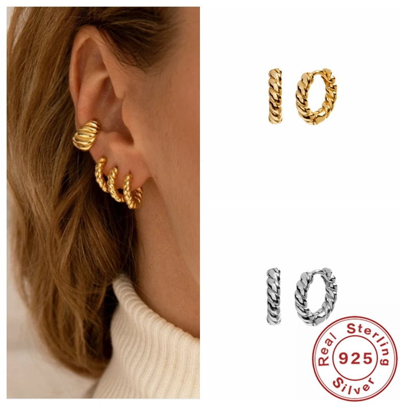 Aide 2021 Trend Earring 925 Sterling Silver Gold Color Earring For Women Trendy Round Geometric Hoop Earrings Party Jewelry Gift superwear 925 sterling silver hoop earrings with charm yellow gold color women men round coin pendant earring vintage jewelry
