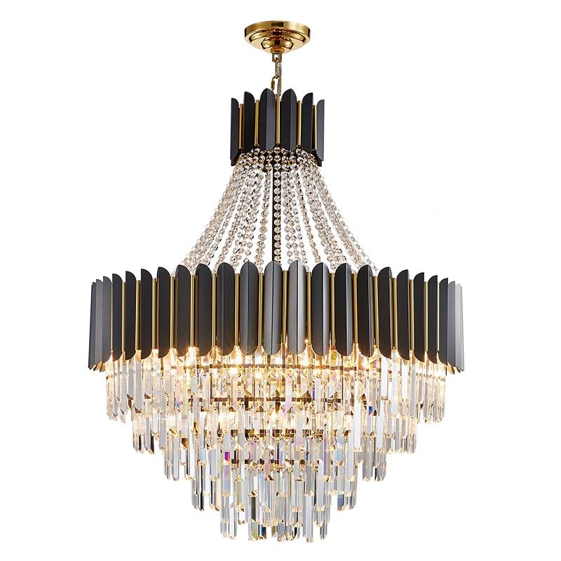 ثريا كريستال دائرية من الفولاذ المقاوم للصدأ ، تصميم حديث ، إضاءة داخلية ، إضاءة سقف مزخرفة ، مثالية للفيلا أو السلالم أو غرفة المعيشة.