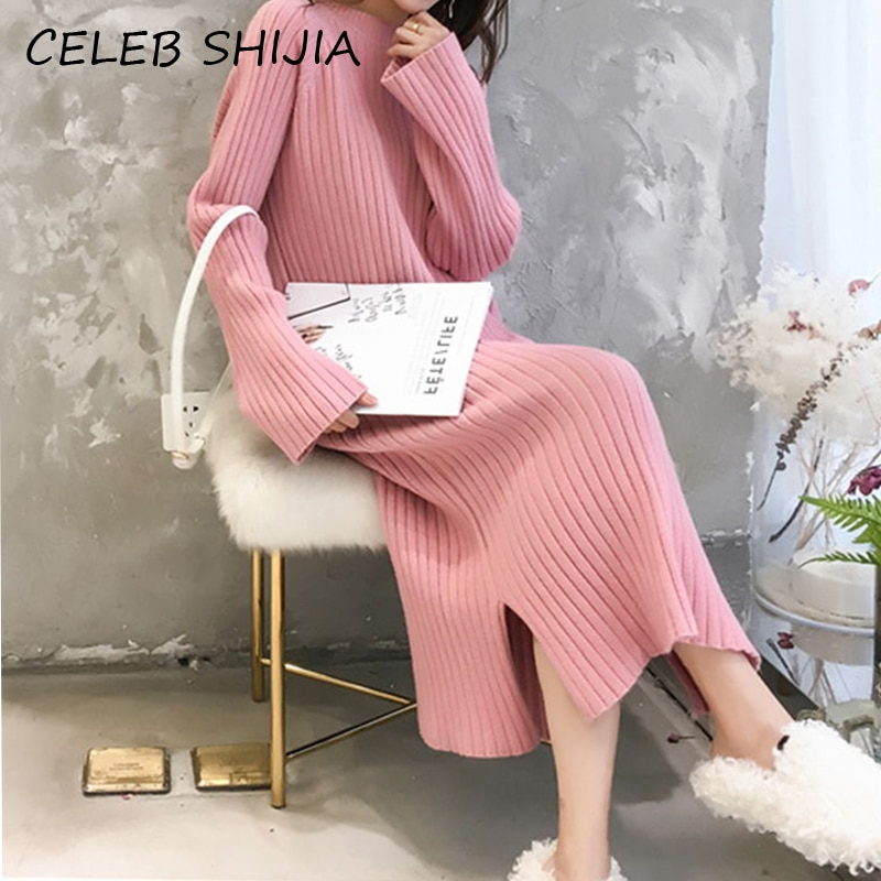 فستان SHIJIA برقبة دائرية ، أكمام طويلة ، محبوك ، زي دافئ ، لون المشمش الوردي ، مجموعة خريف وشتاء 2020