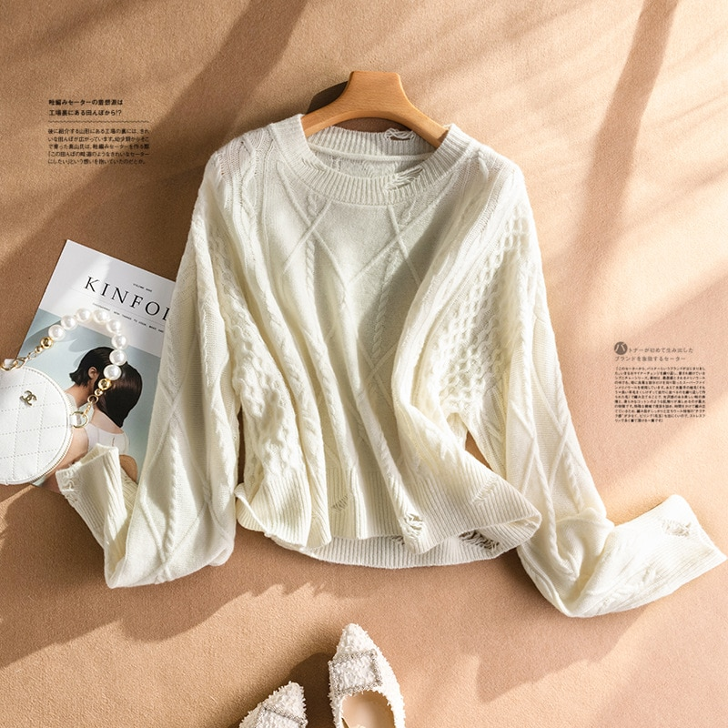 Shuchan Wool Knit Sweater Pullover Autumn Winter New 2021 O-Neck High Street Frayed  Women Fashion Clothing Tops Full Sleeve enlarge