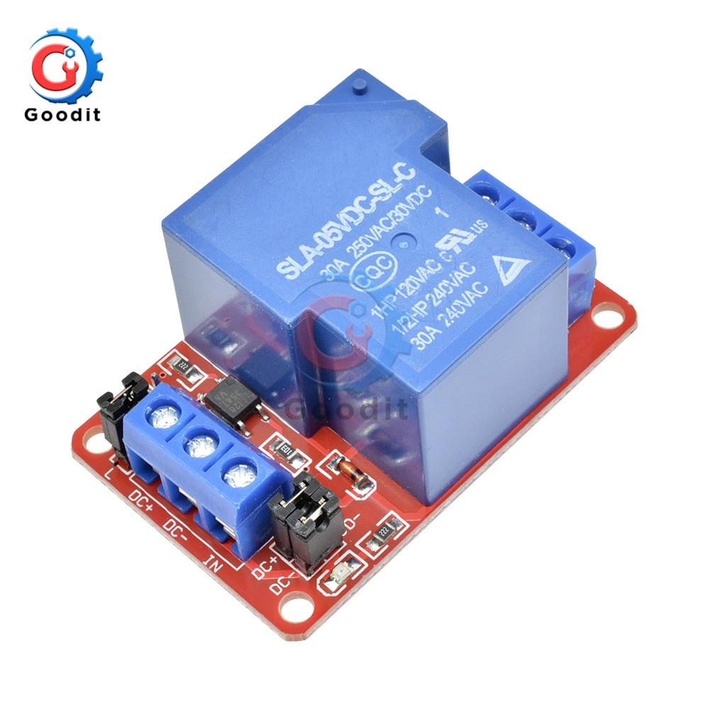 Módulo de relé 1 canal de alta potencia de 5V 12V 30A 24V CC con Triger de nivel H/L para relés de brazo Arduino Mega AVR PIC DSP