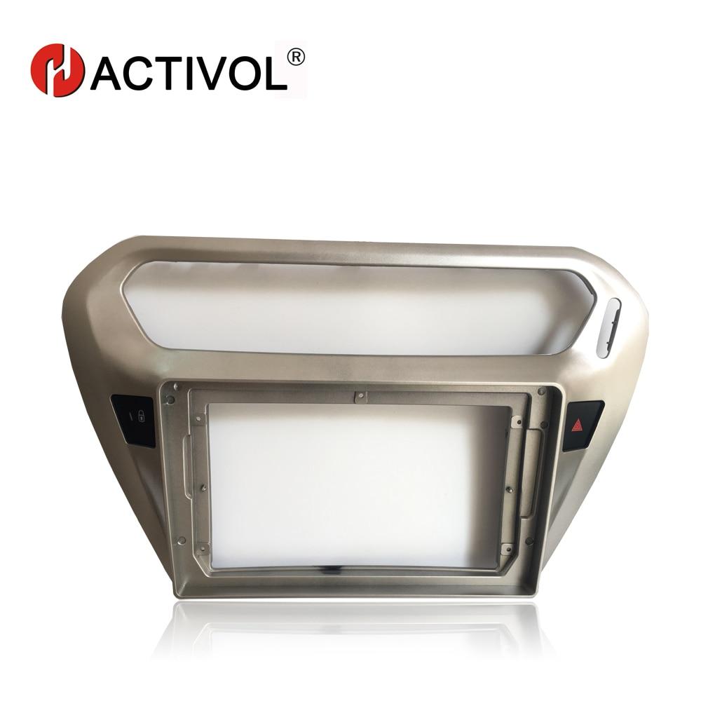 Marco de placa frontal de Radio de coche 2 Din HACTIVOL para Peugeot 301 2014-2016, panel de reproductor de DVD GPS para coche, kit de montaje de panel, accesorios para coche