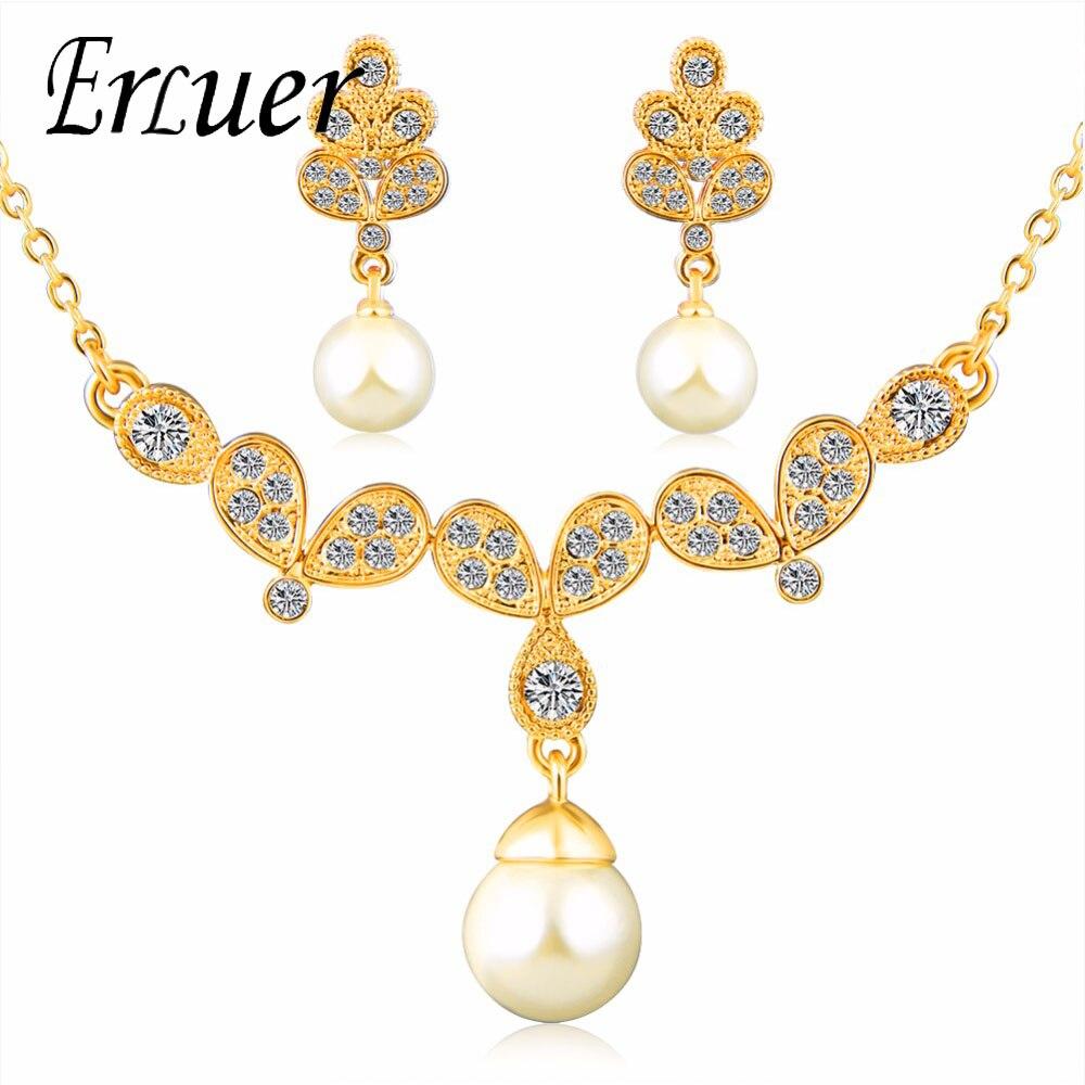 ERLUER Charmig Sashion Jewelry Set For Women  Necklace /Earrings  Women Wedding jewelry