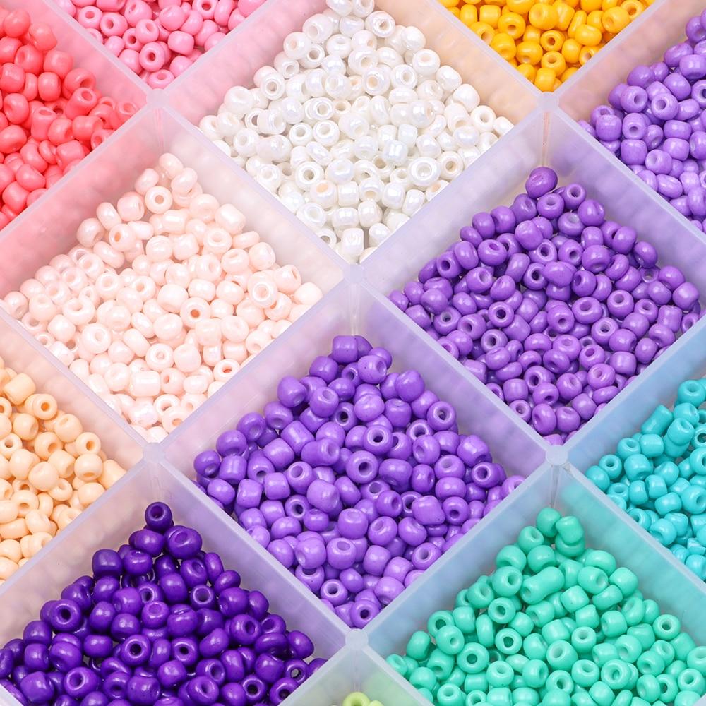 Cuentas de semilla de cristal a granel, 2/3/4mm, pequeñas cuentas de poni para proyecto artesanal, pulsera, collar, fabricación de joyas