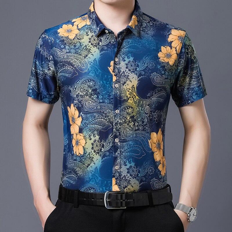 Summer Fashion Mens Shirts Casual Printing Dress Shirt Male Short Sleeve Clohtes Floral Printed