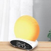 Digital LED Projection Clock Night Light 7 Colorful Sleep Simulation Sunrise and Sunset Wake Up Date FM Radio Music Alarm Clock