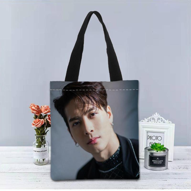 Custom GOT7 Jackson KPOP Tote Bag Canvas Fabric Handbag Two Sides Printed Shopping Bag Traveling Cas