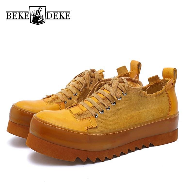 اليدوية الرجال منصة الارتفاع زيادة حذاء قماش الرجعية تنفس الدانتيل يصل العمل حذاء كاجوال المسامير في الهواء الطلق أحذية مشي