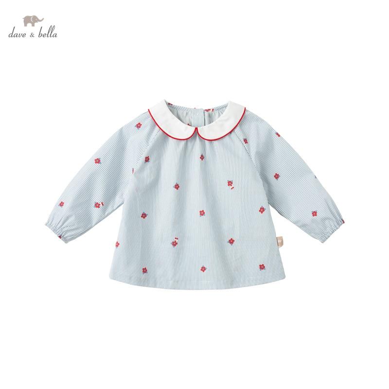 DB16724 нижнее белье в стиле бренда dave bella/модные весенние платья для маленьких девочек с цветочным рисунком в полоску для младенцев, топы для малышей; Футболка; Детская одежда высокого качества|Блузки и рубашки| | АлиЭкспресс