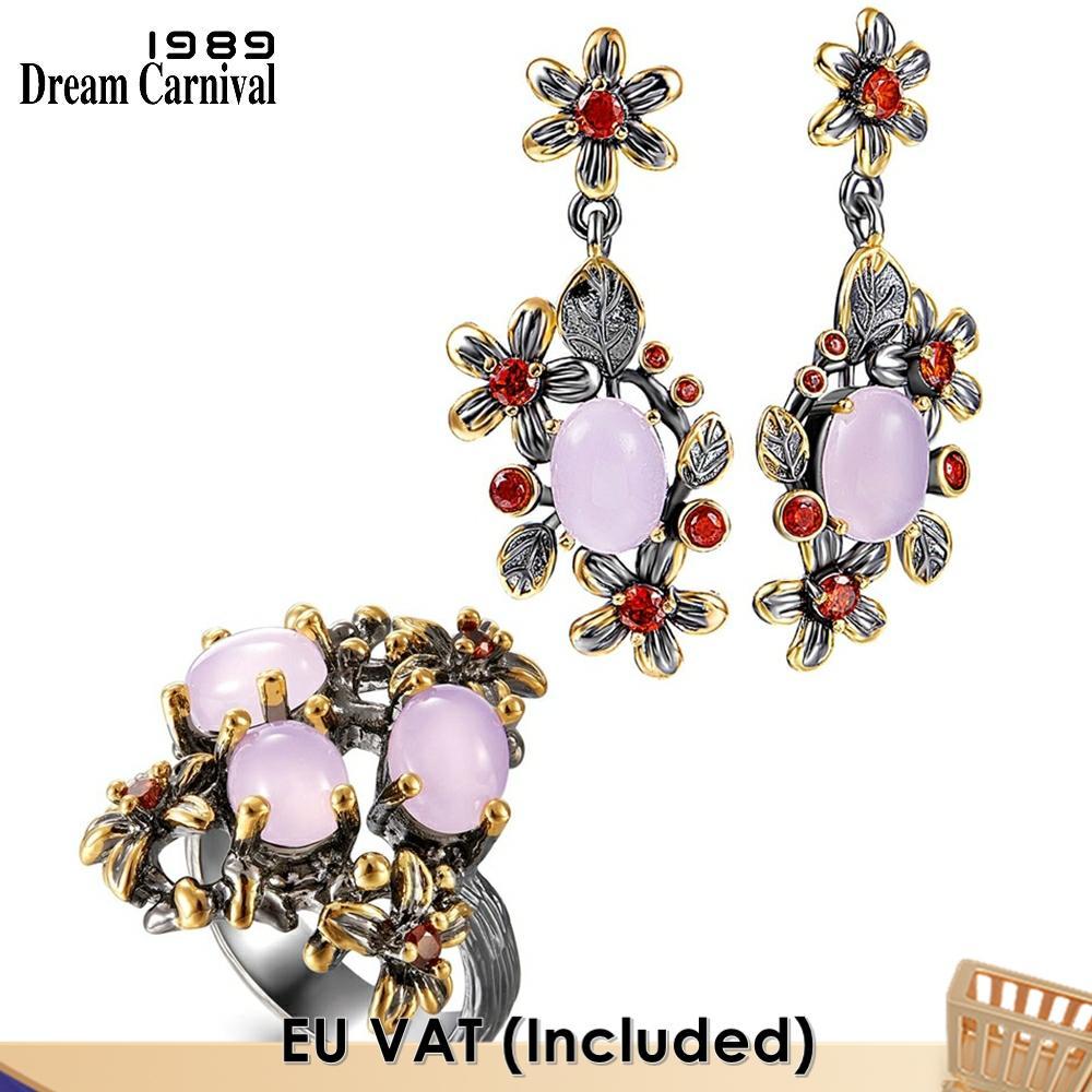 Dreamcarnival-طقم خاتم وأقراط نسائي أنيق ، مجوهرات خطوبة أنيقة ، أحجار أوبال وردية ، زهرة أنثوية ، ER4033S2 ، 1989