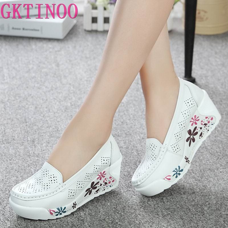 GKTINOO New Women's Genuine Leather Platform Shoes Wedges White Lady Casual Shoes Swing mother Shoes