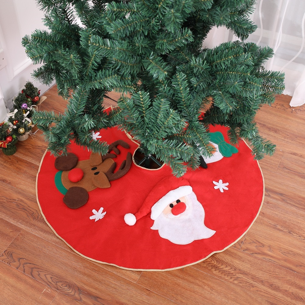 100CM Red Non-woven Fabrics Christmas Tree Skirt Christmas-Tree Decorations Home Decor