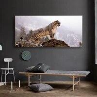 Peinture a lhuile animale leopard donnant sur toile peinture bureau salon couloir decoration murale