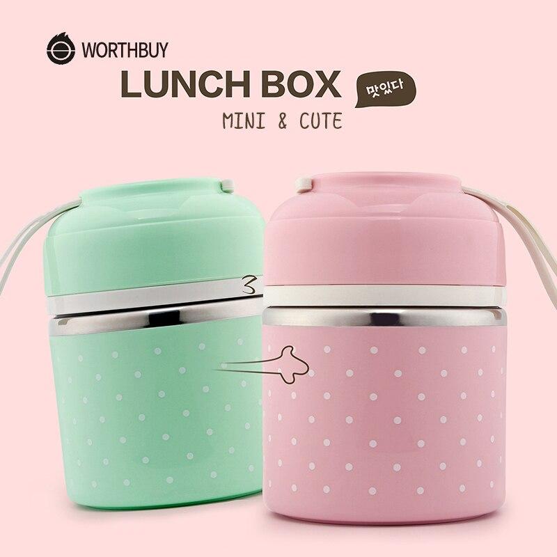 WORTHBUY Śliczne japońskie pudełko na Lunch dla dzieci przenośny na zewnątrz ze stali nierdzewnej pojemnik Bento szczelny pojemnik na jedzenie do kuchni do jedzenia pudełko