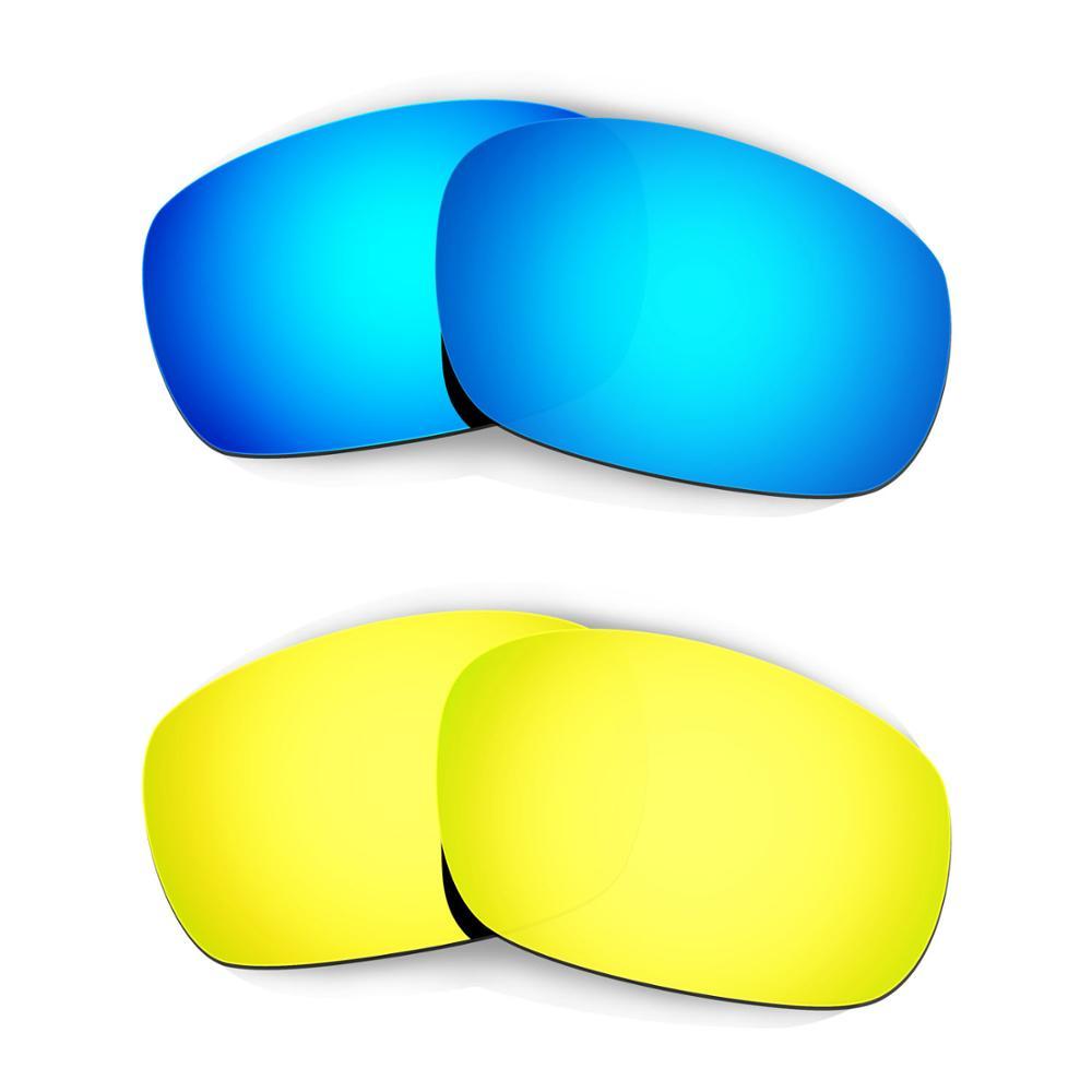 HKUCO ل عظم الفك (الآسيوية صالح) النظارات الشمسية استبدال العدسات المستقطبة 2 أزواج-الأزرق و الذهب