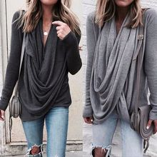 Long Sleeve Autumn Winter T-shirt Women Tops Fashion Solid Irregular T-shirts Casual Loose T Shirts Female Top Plus Size 5XL