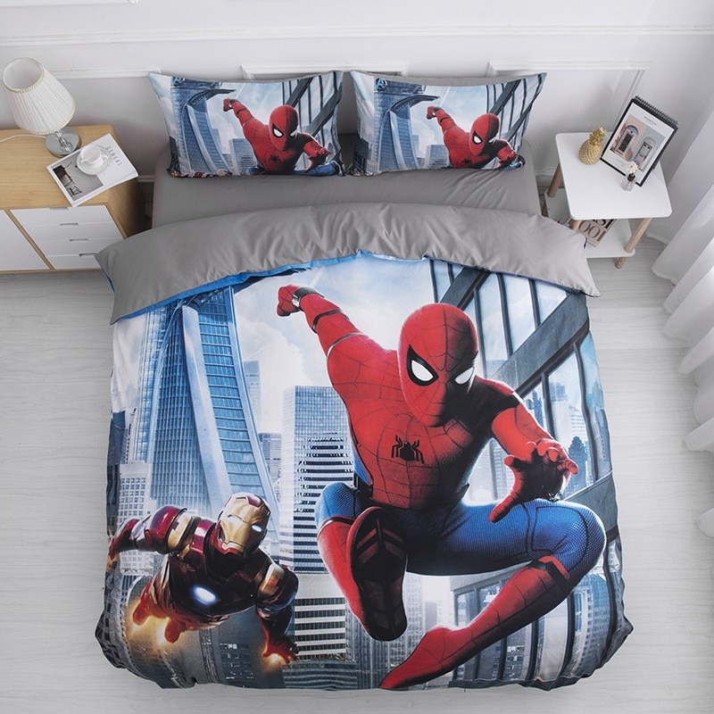 الكرتون سبايدرمان طقم سرير صبي وفتاة المنتقمون حاف مجموعة غطاء سرير الاميرة الكتان الرجل الحديدي مفارش السرير طالب عنبر