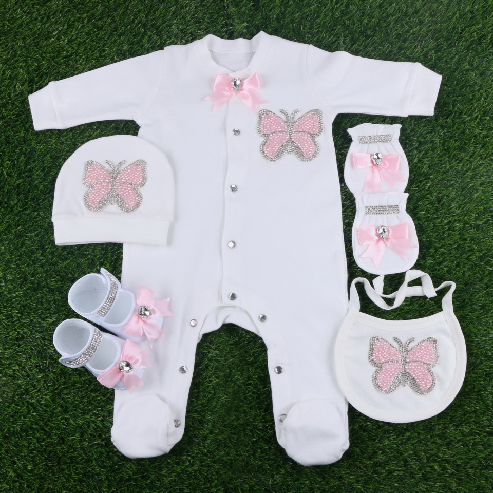 new design newborn baby girl rompers Bibs hat gloves shoes set 5 pcs by beaded butterfly style beauty infant footies clothes
