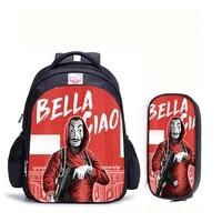 16 inch la casa de papel money heist house of paper backpack for teenage girls boys book bag mochila children school backpacks