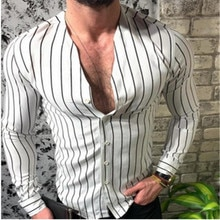 2019 Autumn Slim Modis Mens Long Sleeve Shirt Cool Stripe Casual V-Neck Casual Dress Shirts Male Blouse Shirt Plus Size