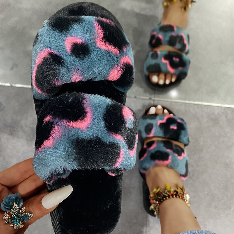Autumn and winter Casual Fuzzy Slippers Female Comfortable Fluffy Slipper Ladies Soft Plush House Sl