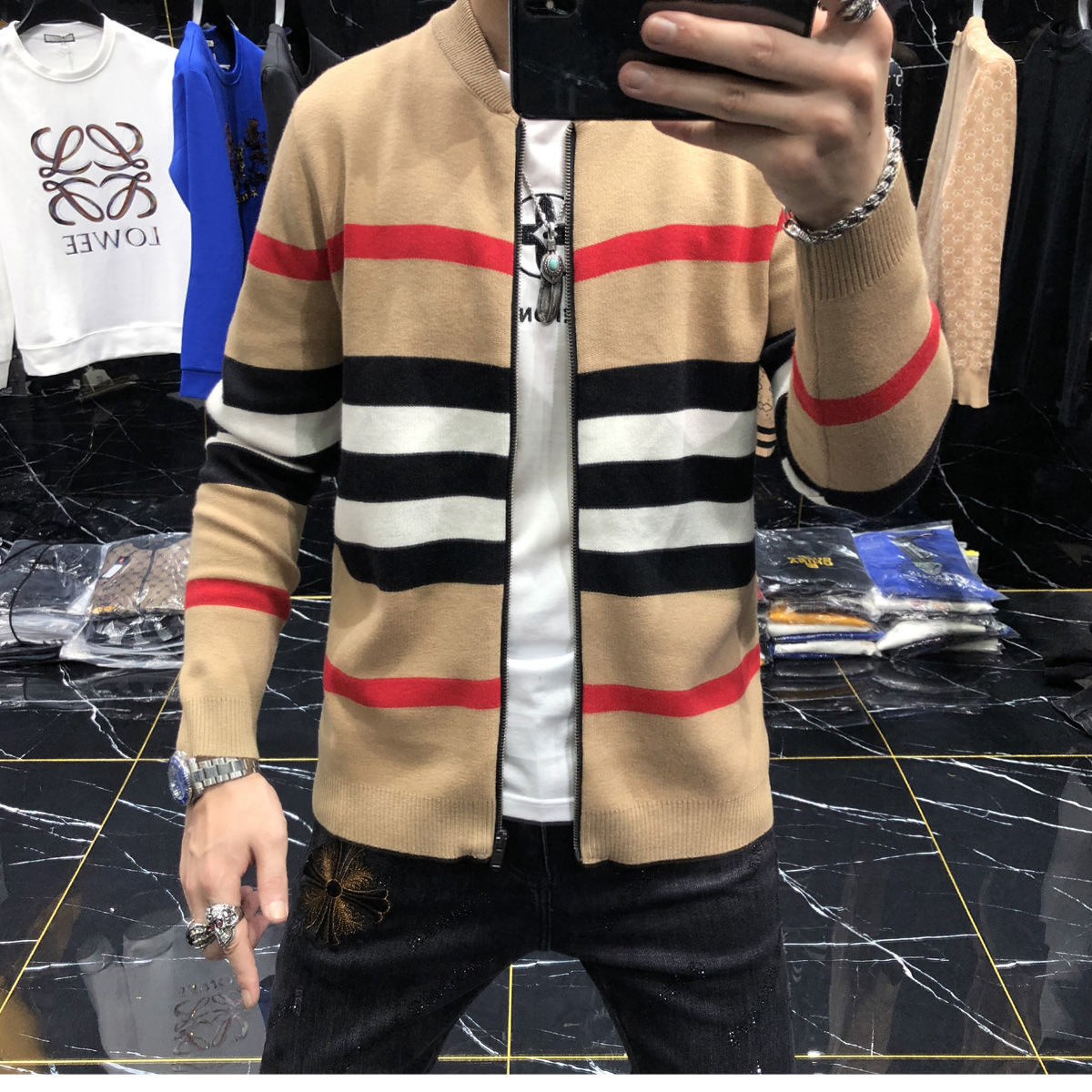2020 Men's Sweater New Cardigan Knitted Coat Male Autumn Sweater Male Trendy Tops