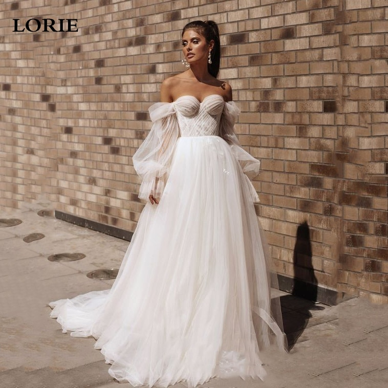 LORIE Princess Wedding Dresses Sweetheart Puff Sleeve Movable Beach Bridal Gown Off The Shoulder Lace Up Back Boho Wedding Gowns
