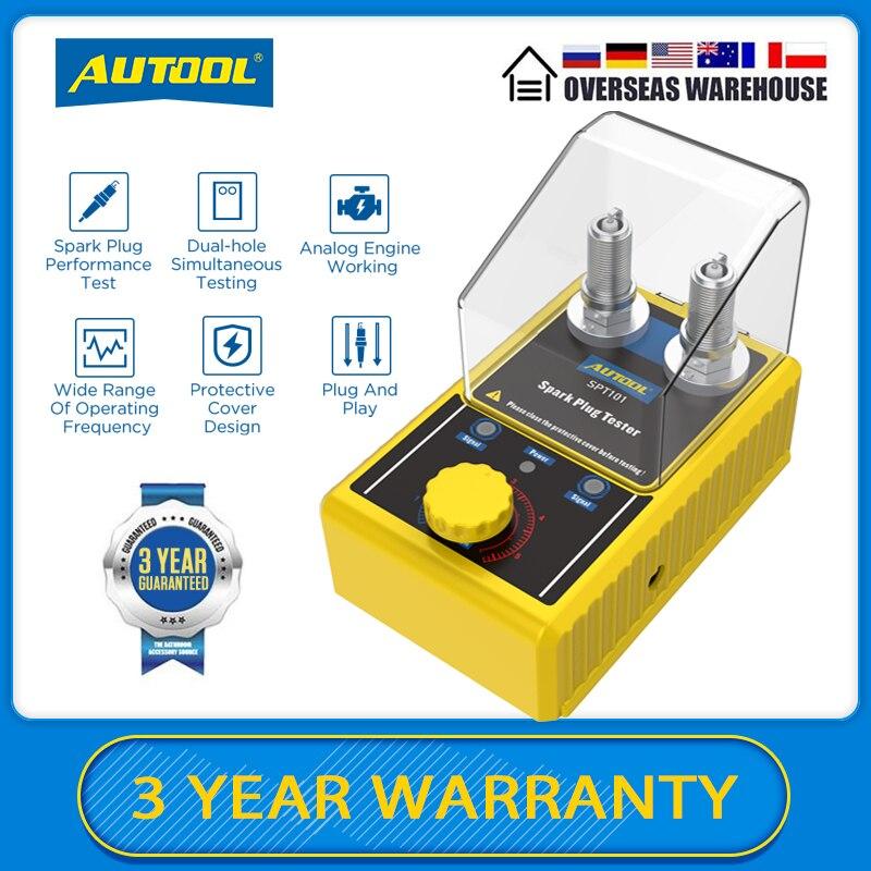 جهاز كاشف ثقب مزدوج قابل للضبط تلقائي من AUTOOL SPT101 أداة اختبار قابس شرارة السيارة محلل مآخذ الإشعال 110 فولت 220 فولت للمركبات 12 فولت