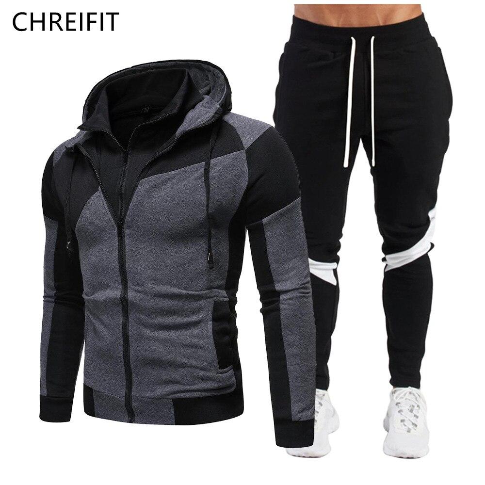 Мужская спортивная одежда CHREIFIT, спортивная одежда из двух предметов, мужская пара толстовок на молнии, мужской разноцветный комбинезон, спо...