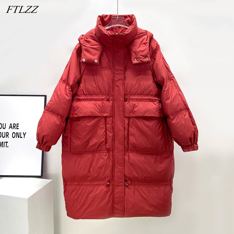 FTLZZ الشتاء عالية الخصر مقنعين طويلة سترة من الريش المرأة عادية فضفاض مصدات الرياح الثلوج الدافئة أبلى سيدة 90% الأبيض بطة أسفل معطف