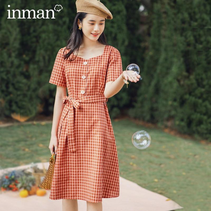 INMAN, estilo Retro 2020, novedad de verano, a cuadros, Bowknot, ceñido en la cintura, Vestido de manga corta
