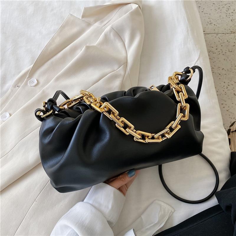 Thick Chain Crossbody Shoulder Bag Luxury Handbag Women Bags Designer Leather Clutches Retro Cloud Pouch Bag Women Totes Bag