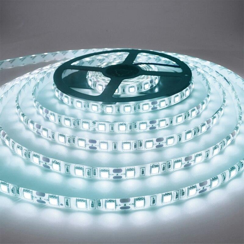 5M SMD3528 2835 RGB 12V Светодиодный светильник, белая неводонепроницаемая/Водонепроницаемая гибкая неоновая Диодная лента, 60LED/M полоса украшения