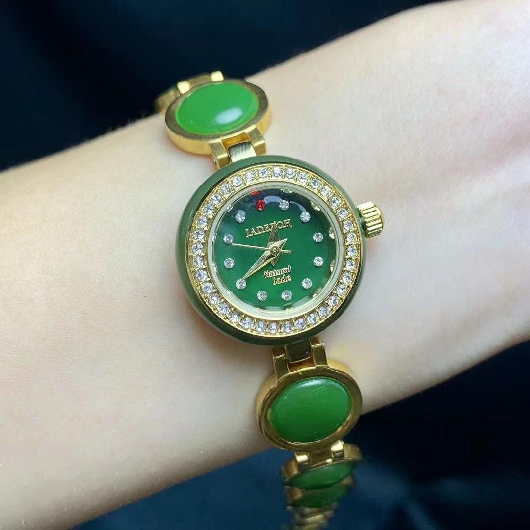 الفاخرة الطبيعية Hetian اليشم جاسبر ساعة المرأة المرأة جوهرة مجوهرات ساعة أوتوماتيكية مقاوم للماء بيجو Montre فام