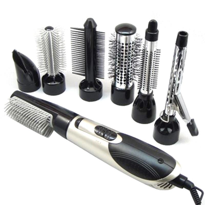 Gran oferta Enchufe europeo 7 en 1 multifunción profesional de iones negativos secador de pelo con peine secador de pelo conjunto rizador de pelo liso w