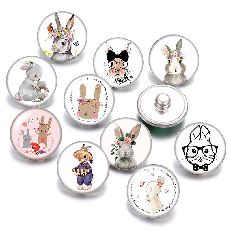 Bonito conejo huevo de Pascua día de Pascua 18mm botones a presión 10 Uds redondas mixtas foto cristal cabujón estilo para botón de presión joyería