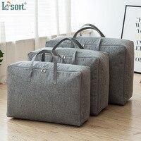 Cotton linen dustproof storage organizers Storage Bags zipper Quilt Underbed Storage Bag Breathable Clothes Blanket Storage Bag