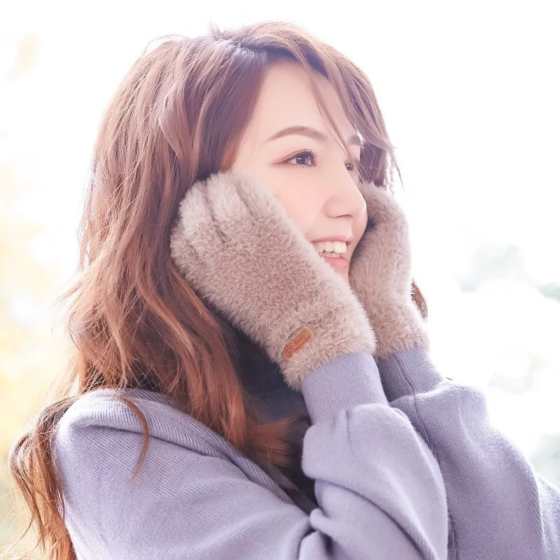 Knitted Gloves Winter Warm Thick Touch Screen Fur Gloves Solid Mittens  Women's Cold Glove Cashmere