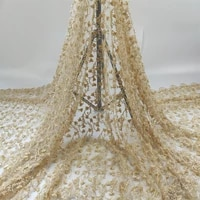 latest 2021 tulle lace fabric high quality african embroidery swiss french guipure sequins wedding party dress beaded 5yards