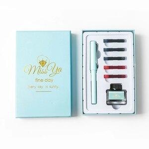 Подарочная коробка, набор ручек с возможностью замены мешка для чернил, специальная ручка для каллиграфии, подписи, пластиковая титановая ручка для письма стандартного типа 0,5 мм