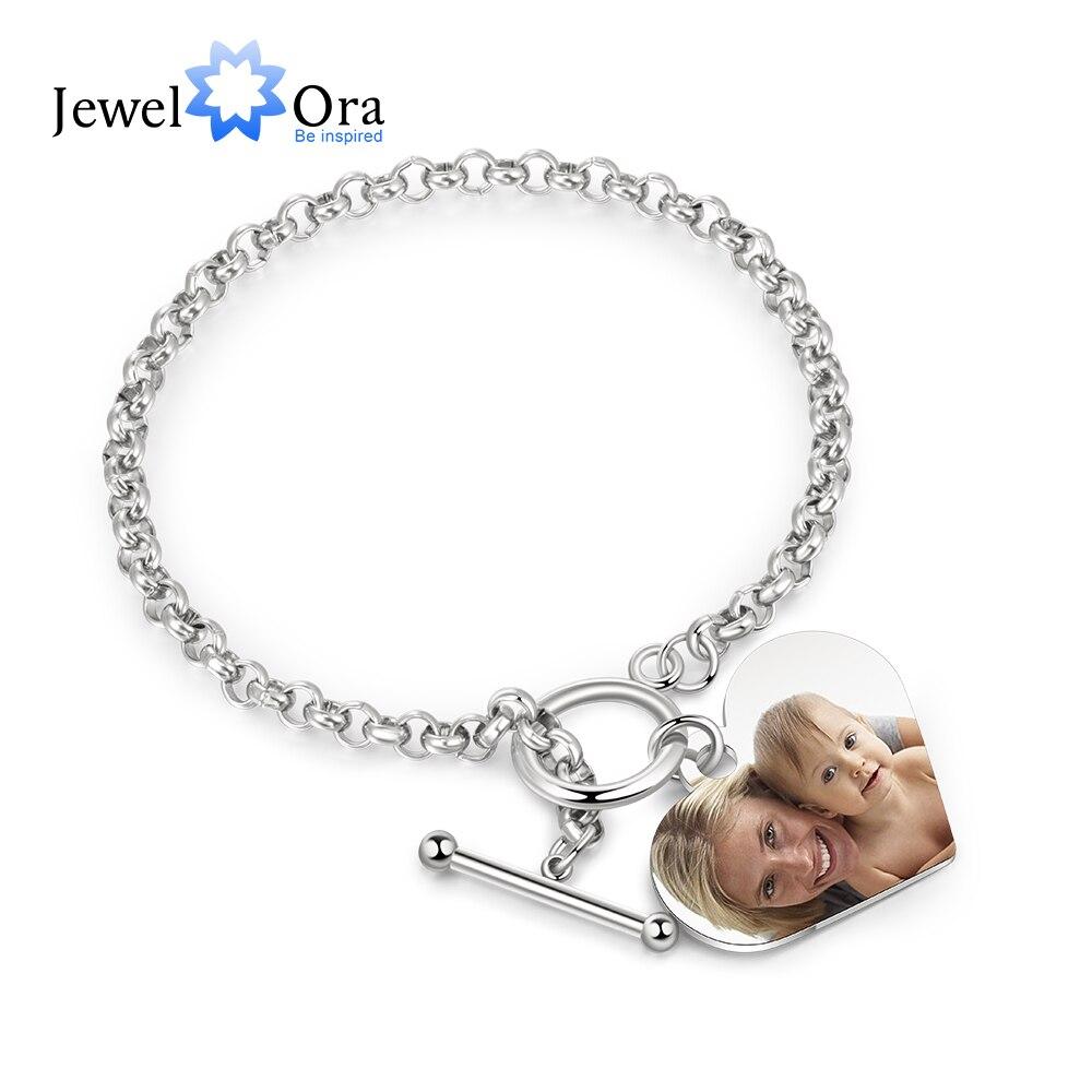Jewelora personalizado foto coração pulseiras para mulheres de aço inoxidável corrente manguito pulseira gravura jóias presentes para ela