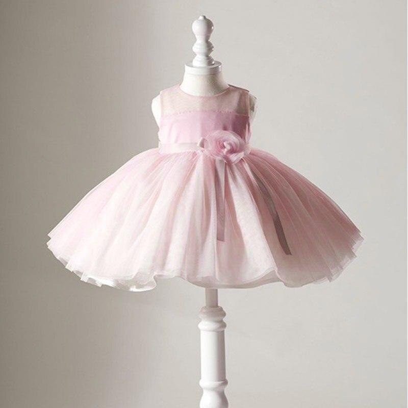 فستان صيفي من التول الوردي للفتيات الصغيرات ، مزين بالورود ، فساتين أعياد الميلاد وأعياد الميلاد ، للأطفال الصغار ، ملابس التعميد
