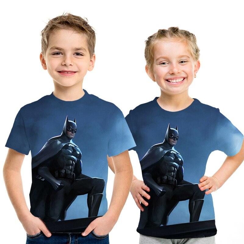 3d impresso super-herói crianças meninos e meninas camiseta verão streetwear menino menina batman crianças camiseta