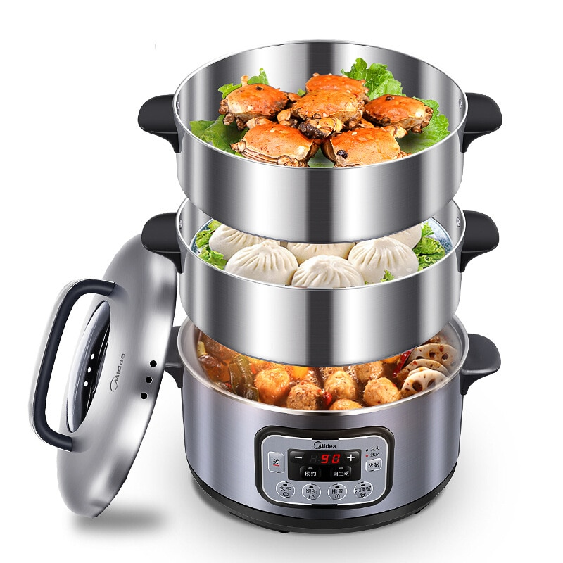 Olla de vapor de gran capacidad de 12L, calientaplatos de comida, olla de vapor de 3 capas de acero inoxidable, olla de Vapor Eléctrica para alimentos, calentador de alimentos